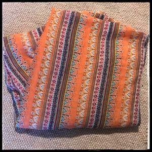 Boho Orange Striped Floral Scarf Or Sarong Fringe